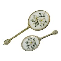 Limoges Regent London Vanity Mirror Hair Brush Dogwood Floral Porcelain Set