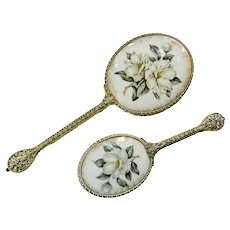 Limoges Regent London Vanity Mirror Hair Brush Dogwood Floral Porcelain Set