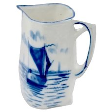 Blue White German Delftware Porcelain 2-1/2 Pint Pitcher