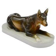 Large ROYAL DUX Fine Porcelain Glazed German Shepard Figurine Signed