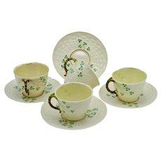 Vintage Belleek Irish Bone Porcelain SHAMROCK pattern Set (4) Tea Cups