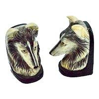 Vintage Porcelain Port Royal Chelsea House Wolf / Shepard Bookends
