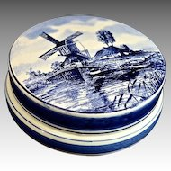 Delft's Blue and White Hand Painted Porcelain Trinket Box