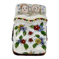 Limoges France Large Trinket Box Porcelain Couple in Bed Signed