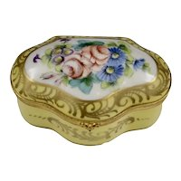 Vintage Yellow White Floral Limoges Trinket Box Decor Main