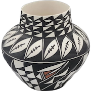 Southwestern Acoma Signed Polychrome Olla Pottery Vessel Signed