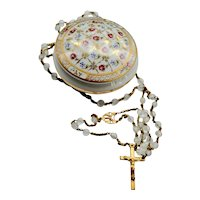 French Lourdes Rosary Crystal Catholic 5 Decade Rosary  Limoges Box