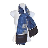 Christian Dior Lambswool Jacquard Floral Fringe Scarf