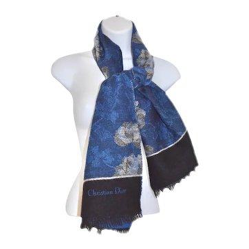 Vintage Signature Christian Dior Fine Wool Jacquard Floral Fringe Scarf