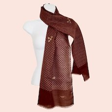 Designer Fendi Vintage Logo Fine Cotton Weave Scarf