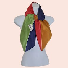 Bold 80's Yves Saint Laurent Silk Color-Block Modernist Scarf
