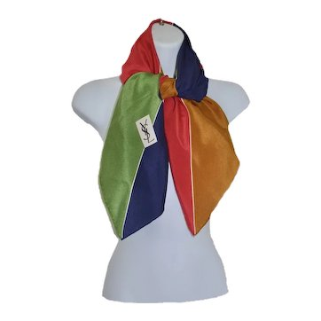 Bold 80's Yves Saint Laurent Silk Color-Block Modernist Scarf