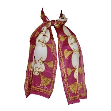 Vintage Oscar De La Rental 100% Silk Classical Rope Tassel Swag Designer Scarf