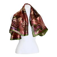 Luxury Lanvin, Paris 100% Silk Abstract Leaf Floral Scarf