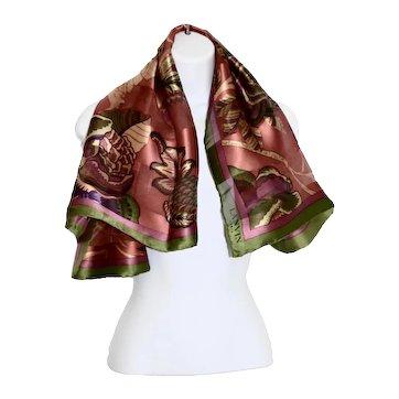 Luxurious Lanvin, Paris 100% Silk Abstract Leaf Floral Scarf