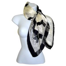 Nina Ricci Paris Silk High Fashion Designer Scarf Black / White