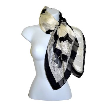 Nina Ricci Paris Silk High Fashion Designer Scarf Black / White