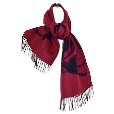 Wool Designer Nina Ricci Black Magenta Dove Neck Scarf