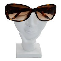 Retro Valentino Jeweled Logo Tortoise Motif Sunglasses
