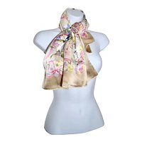 Spring Celebration Nina Ricci Ribbon Floral Bouquet Silk Scarf