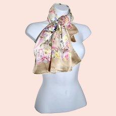 Spring Celebration Nina Ricci Ribbon Floral Bouquet Silk Scarf