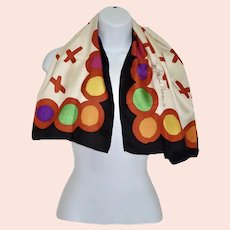 Paloma Picasso Iconic 100% Silk Signature Scarf Bold Colors