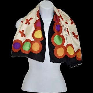 Paloma Picasso Iconic 100% Silk Signature Scarf Bold Colors