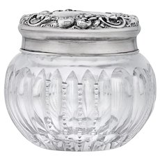 Victorian Sterling Brilliant Cut Prism Glass Chased Silver Roses Powder Jar