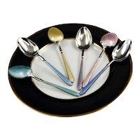 Birmingham Suckling Ltd Demitasse Guilloche (6) Multi-Color Enamel Spoon Set