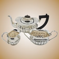 Antique  Queen Anne Style Birmingham England Sterling Silver Bachelor Tea Set