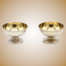 Antique Tiffany & Co Sterling Silver Pair Salt Cellars with Gold Wash Bowls