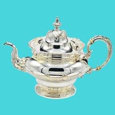 Antique Tiffany & Co Georgian Silver Soldered EF Circa 1887 Large Teapot