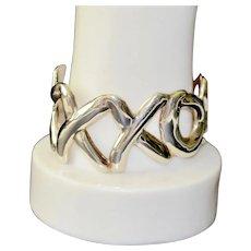 Love Kisses Paloma Picasso Style Graffiti Sterling Taxco Mexico Cuff Bracelet