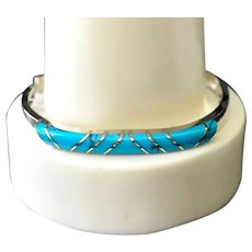 Sterling Silver Taxco Mexico Inlaid Turquoise Bangle Bracelet Signed