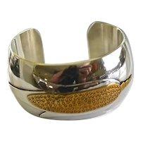 Southwestern Heavy Sterling Sliver Brass Artisan Corn Maze Cuff Bracelet Signed