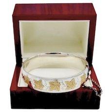 Birmingham Sterling Silver Mid Century Etched Maple Leaf Cuff Bracelet Signed