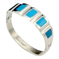 Chunky Taxco Mexico Inlaid Turquoise Panel Bangle Bracelet Signed