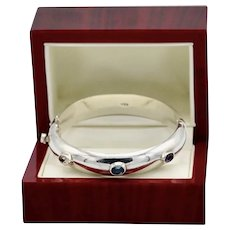 Sterling Silver Bangle Gemstone Polished Bracelet