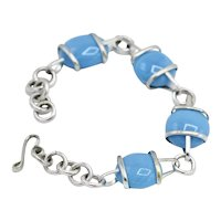 Sterling Silver Mexico Polished Sea Blue Artisan Moulded Glass Bracelet