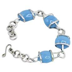Sterling Silver Mexico Polished Sea Blue Artisan Moulded Glass Bracelet