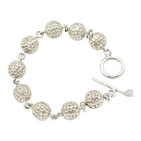 Ladies Sterling Sporty Golf Ball Bracelet with T-Toggle Closure