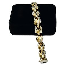 Italian Sterling Silver 12K Gold Vermeil Puffy Leaf Bracelet