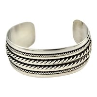 Ornate Thick Thin Rope Embossed Design Sterling Silver Cuff Bracelet