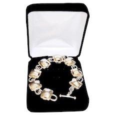 Modernist Geometric Sterling Silver Heavy Cube Link Bracelet
