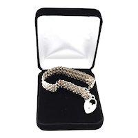 London Sterling Silver Padlock Keyhole Mesh Link Bracelet
