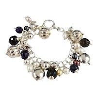 Bohemian Boho Sterling Silver Chunky Bauble Multi-Shaped Charm Bracelet