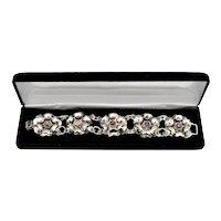 1940's Mexico Sterling Silver Amethyst Gemstone Floral Panel Bracelet