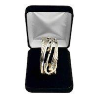 Art Nouveau Revival Kissing Herons Sterling Silver Vermeil Cuff Bracelet