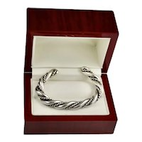 Vintage Sterling Silver Chunky Rope Twist Cable Cuff Bracelet