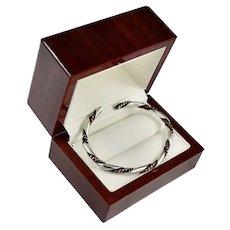 Vintage Sterling Silver / Copper Cable Cuff Bracelet
